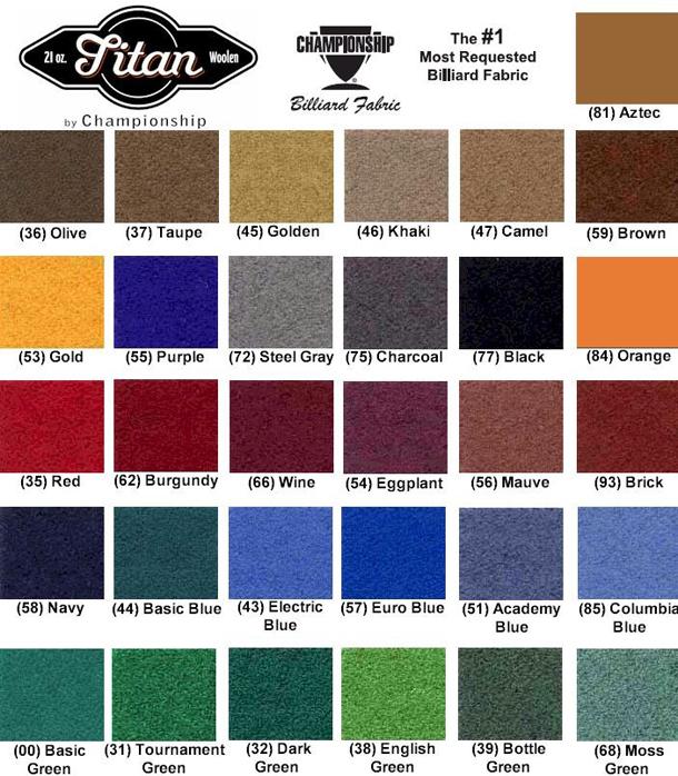 Standard Woolen Pool Table Felt Colors (Opens In New Window.)